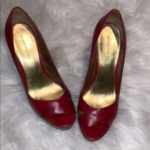 Marc Fisher Leather Peep Toe Mandisa Heels